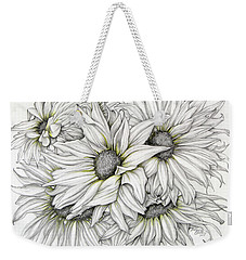 Weekender Tote Bag featuring the drawing Sunflowers Pencil by Melinda Blackman