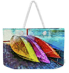 Weekender Tote Bag featuring the photograph Daisy And The Rowboats by Thom Zehrfeld