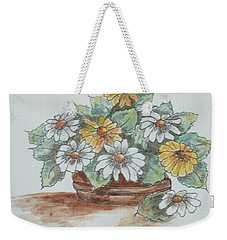 Weekender Tote Bag featuring the painting Daisy Craze by Sharyn Winters