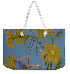 Weekender Tote Bag featuring the painting Daisy Days by Karen Ilari