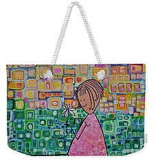 Weekender Tote Bag featuring the painting Daisy by Donna Howard