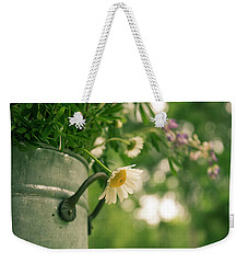 Weekender Tote Bag featuring the photograph Daisy Escape by Jani Freimann