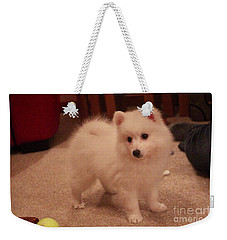 Daisy - Japanese Spitz Weekender Tote Bag by David Grant