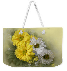 Weekender Tote Bag featuring the painting Daisy Spring Bouquet by Bonnie Willis