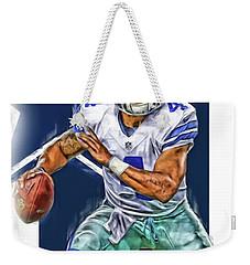Dak Prescott Dallas Cowboys Oil Art Weekender Tote Bag by Joe Hamilton