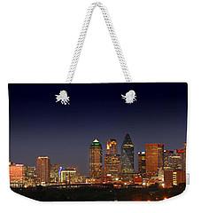 Dallas Skyline At Dusk Big Moon Night  Weekender Tote Bag