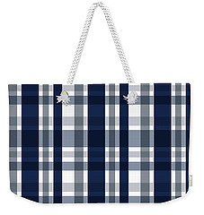 Weekender Tote Bag featuring the digital art Dallas Sports Fan Navy Blue Silver Plaid Striped by Shelley Neff