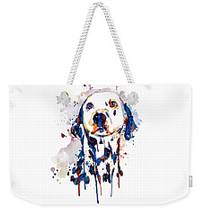 Weekender Tote Bag featuring the mixed media Dalmatian Head by Marian Voicu