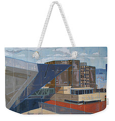 Weekender Tote Bag featuring the painting Dam Museum by Erin Fickert-Rowland