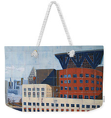 Weekender Tote Bag featuring the painting Dam Public Library by Erin Fickert-Rowland