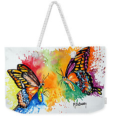 Weekender Tote Bag featuring the painting Dance Of The Butterflies by Maria Barry