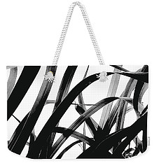 Weekender Tote Bag featuring the photograph Dancing Bamboo Black And White by Rebecca Harman