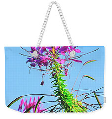 Weekender Tote Bag featuring the photograph Dancing Cleome by Debbie Stahre