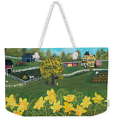 Weekender Tote Bag featuring the painting Dancing Daffodils by Virginia Coyle