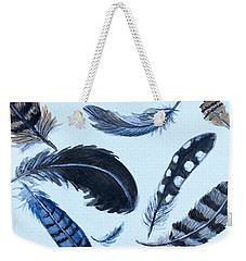 Weekender Tote Bag featuring the painting Dancing Feathers by Elizabeth Robinette Tyndall