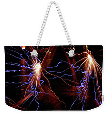 Weekender Tote Bag featuring the photograph Dancing Fireworks #0707 by Barbara Tristan