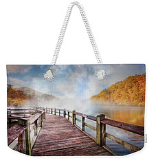Weekender Tote Bag featuring the photograph Dancing Fog At The Lake by Debra and Dave Vanderlaan