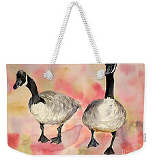 Dancing Geese Weekender Tote Bag by Vicki  Housel