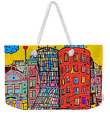 Weekender Tote Bag featuring the digital art Dancing House Prague By Nico Bielow by Nico Bielow