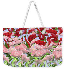 Weekender Tote Bag featuring the painting Dancing In The Garden by David Dehner