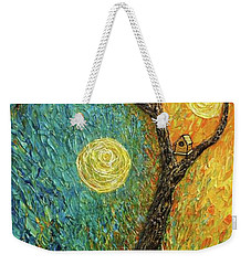 Weekender Tote Bag featuring the painting Dancing Leves by Jane Chesnut