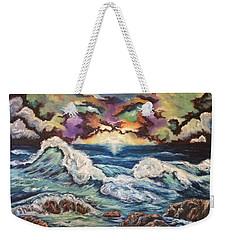 Weekender Tote Bag featuring the painting Dancing Skies 3 by Cheryl Pettigrew