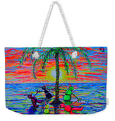 Weekender Tote Bag featuring the painting Dancing Snowman by Viktor Lazarev