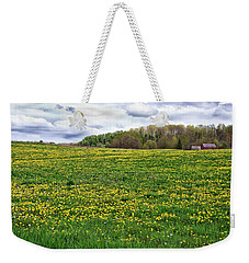 Dandelion Field With Barn Weekender Tote Bag