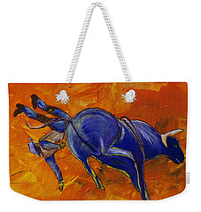 Weekender Tote Bag featuring the painting Danny At The Rodeo by Janice Rae Pariza