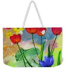 Weekender Tote Bag featuring the painting Daria's Flowers by Jamie Frier