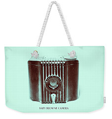 Dark Brown Sepia And Turquoise Art Deco Baby Brownie Weekender Tote Bag