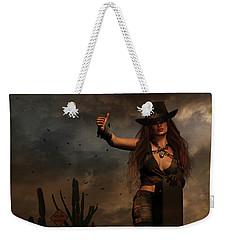 Weekender Tote Bag featuring the digital art Dark Desert Highway by Shanina Conway
