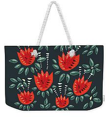 Dark Floral Pattern Of Abstract Red Tulips Weekender Tote Bag