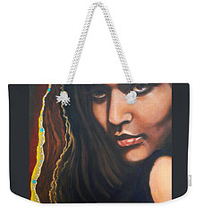 Weekender Tote Bag featuring the painting Dark Latin Eyes by Sigrid Tune