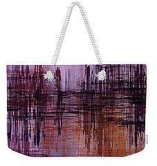 Weekender Tote Bag featuring the painting Dark Lines Abstract And Minimalist Painting by Ayse Deniz