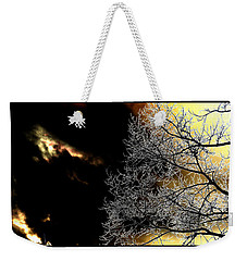 Weekender Tote Bag featuring the photograph Dark Meets Light by Susanne Still