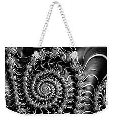 Dark Spirals - Fractal Art Black Gray White Weekender Tote Bag