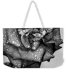 Weekender Tote Bag featuring the photograph Dark Wet Rose by T Brian Jones