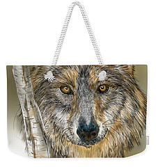 Weekender Tote Bag featuring the digital art Dark Wolf With Birch by Darren Cannell