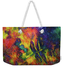 Weekender Tote Bag featuring the painting Darling Darker Dragonfly by Claire Bull
