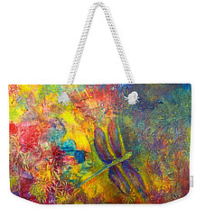 Weekender Tote Bag featuring the painting Darling Dragonfly by Claire Bull