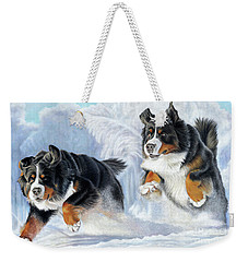 Weekender Tote Bag featuring the painting Dashing Through The Snow by Donna Mulley