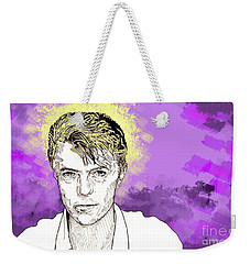 Weekender Tote Bag featuring the drawing David Bowie by Jason Tricktop Matthews