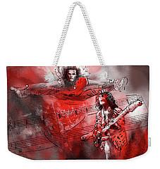David Lee Roth And Eddie Van Halen Jump Weekender Tote Bag by Miki De Goodaboom