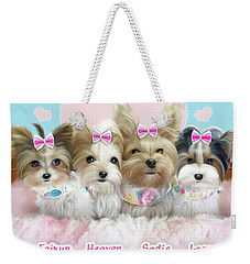 Weekender Tote Bag featuring the painting Davidson's Furbabies by Catia Lee