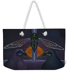 Weekender Tote Bag featuring the painting Dawn And The Echo Of Confession by Andrew Batcheller
