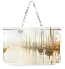 Weekender Tote Bag featuring the digital art Dawn Reflections - Yachts At Anchor On The River by Chris Armytage