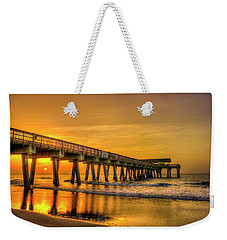 Weekender Tote Bag featuring the photograph Dawn Under Tybee Island Pier Sunrise Reflections Art by Reid Callaway