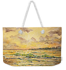 Weekender Tote Bag featuring the painting Dawns View Of Siesta Key by Lou Ann Bagnall