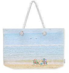 Weekender Tote Bag featuring the digital art Day At The Beach Sun And Sand by Randy Steele